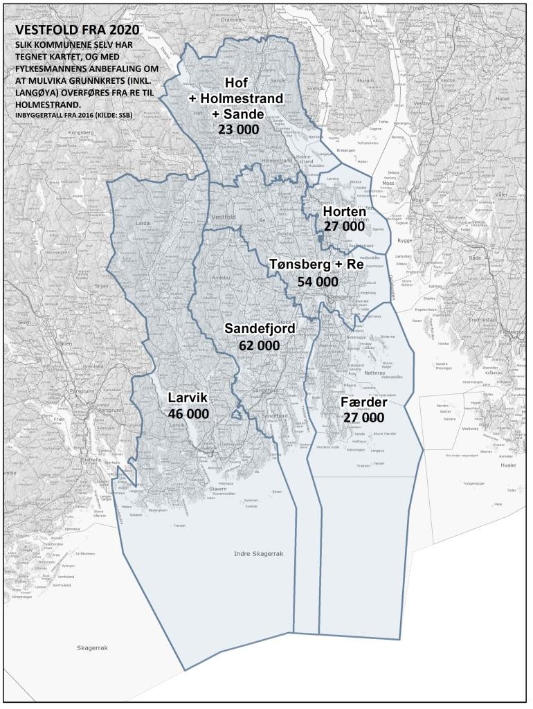 Vestfold fra 2020 - Kart fra Fylkesmannen